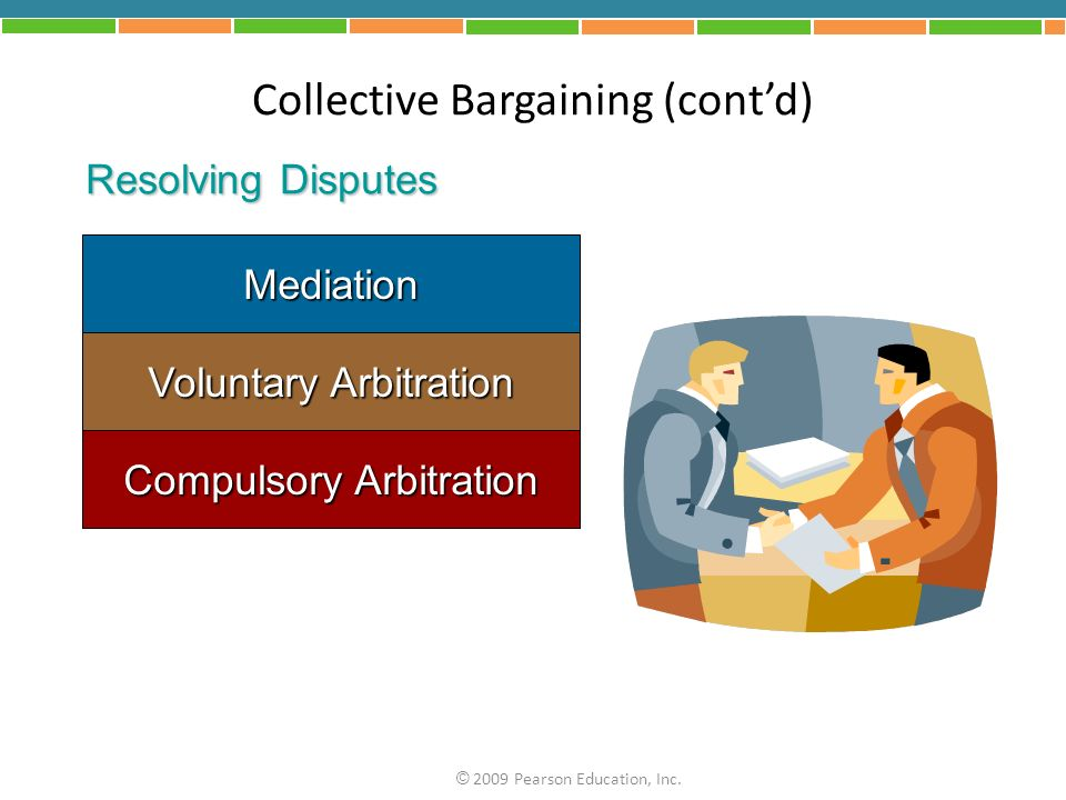 Mediation Voluntary Arbitration Compulsory Arbitration Collective Bargaining (contd) Resolving Disputes © 2009 Pearson Education, Inc.