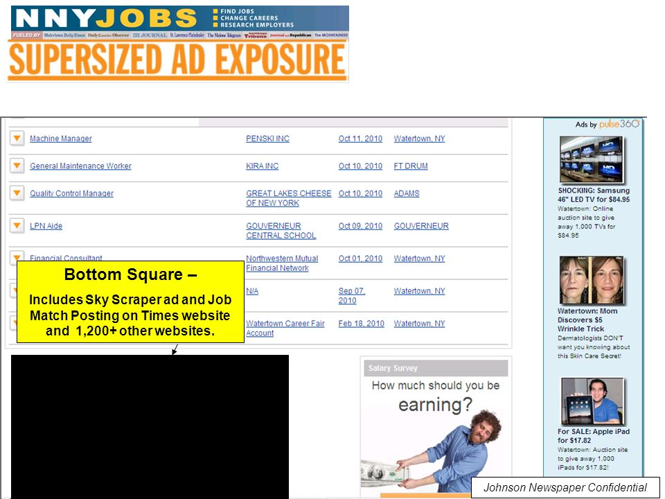 Johnson Newspaper Confidential Bottom Square – Includes Sky Scraper ad and Job Match Posting on Times website and 1,200+ other websites.