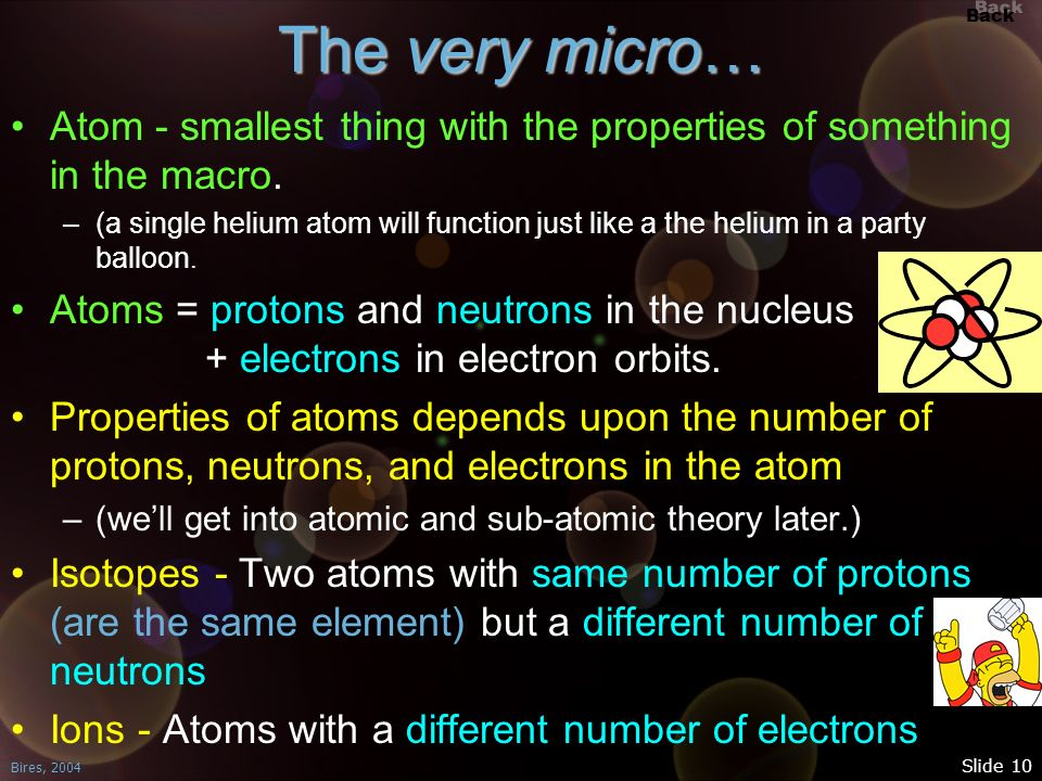 Back Bires, 2004 Slide 10 The very micro… Atom - smallest thing with the properties of something in the macro. –(a single helium atom will function ju