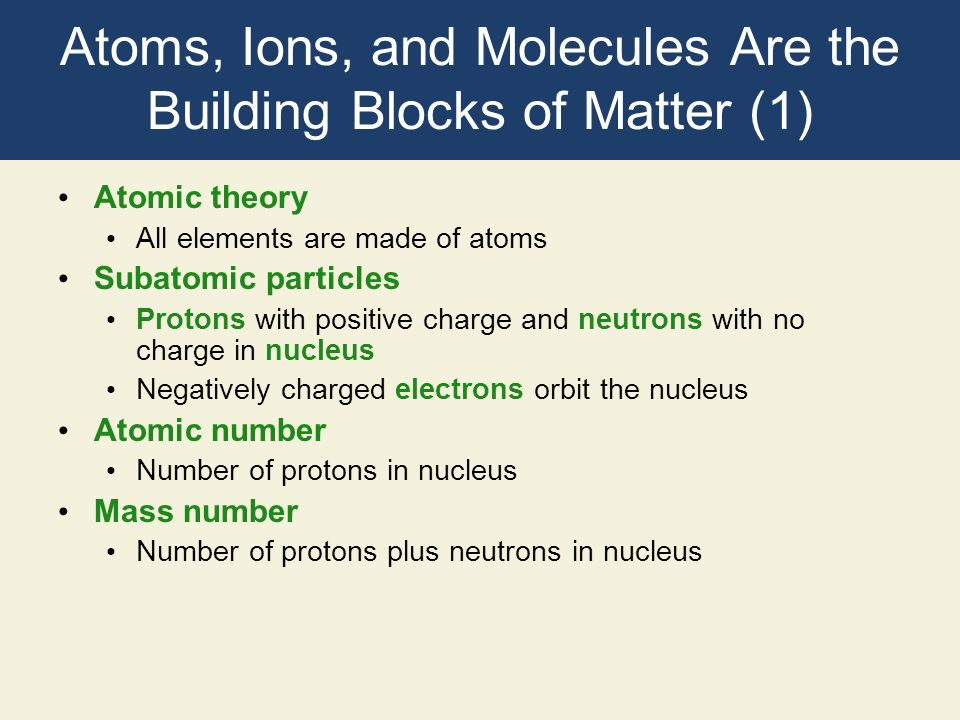 Atoms, Ions, and Molecules Are the Building Blocks of Matter (1) Atomic theory All elements are made of atoms Subatomic particles Protons with positiv