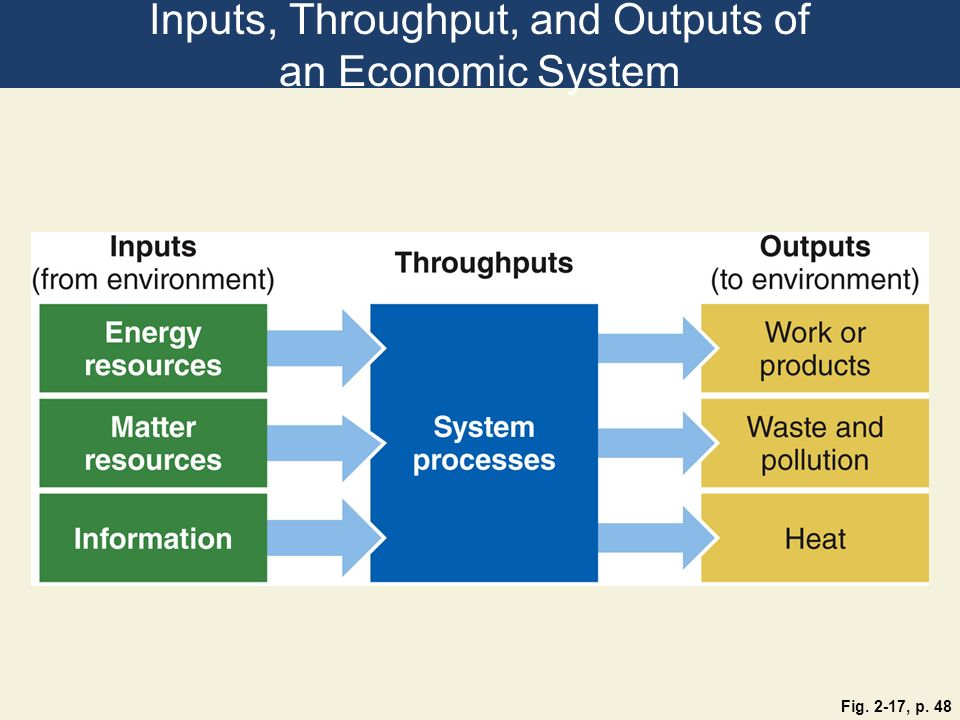 Inputs, Throughput, and Outputs of an Economic System Fig. 2-17, p. 48