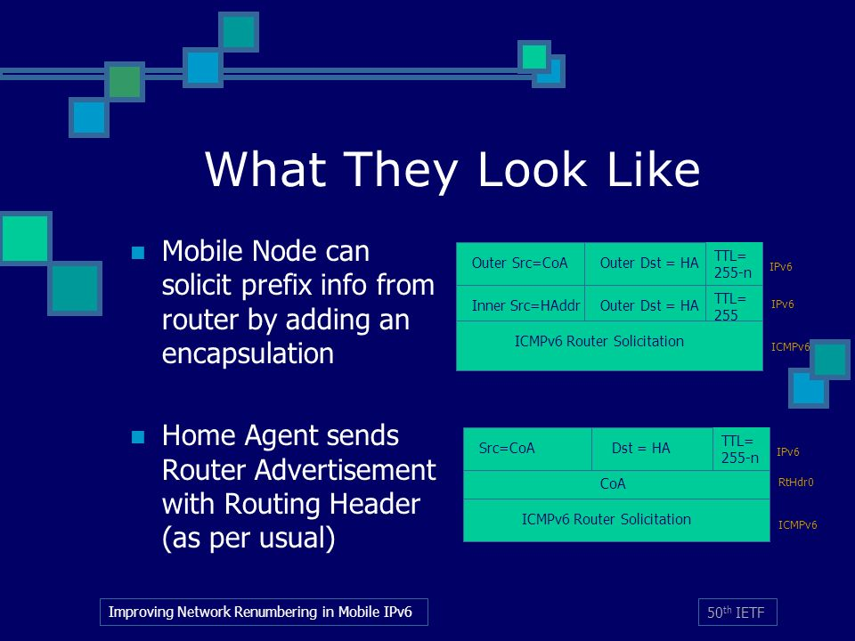 Improving Network Renumbering in Mobile IPv6 50 th IETF TTL= 255 What They Look Like Mobile Node can solicit prefix info from router by adding an encapsulation Home Agent sends Router Advertisement with Routing Header (as per usual) Outer Src=CoAOuter Dst = HA IPv6 ICMPv6 Inner Src=HAddrOuter Dst = HA ICMPv6 Router Solicitation TTL= 255-n Src=CoA Dst = HA IPv6 RtHdr0 ICMPv6 CoA ICMPv6 Router Solicitation TTL= 255-n