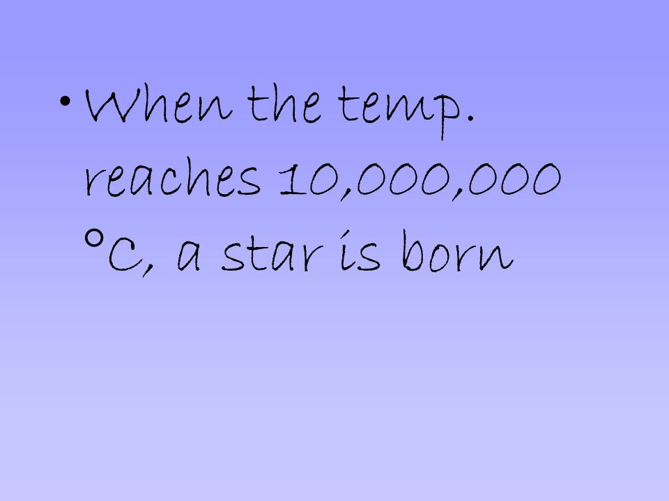 When the temp. reaches 10,000,000 °C, a star is born