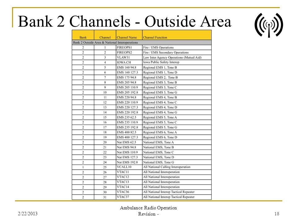 Bank 2 Channels - Outside Area 2/22/2013 Ambulance Radio Operation Revision - 18