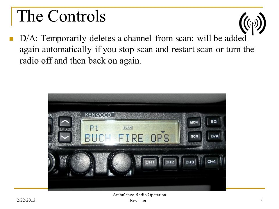 D/A: Temporarily deletes a channel from scan: will be added again automatically if you stop scan and restart scan or turn the radio off and then back