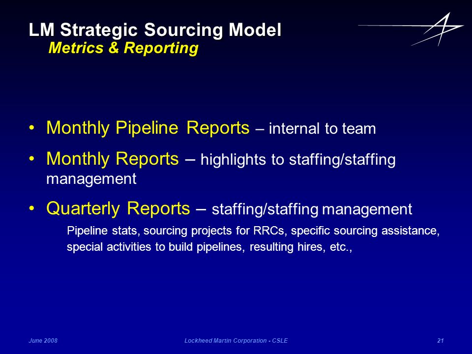June 2008Lockheed Martin Corporation - CSLE21 Monthly Pipeline Reports – internal to team Monthly Reports – highlights to staffing/staffing management
