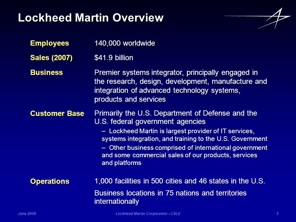 June 2008Lockheed Martin Corporation - CSLE4 LM Locations with over 200 employees Locations Lockheed Martin Overview