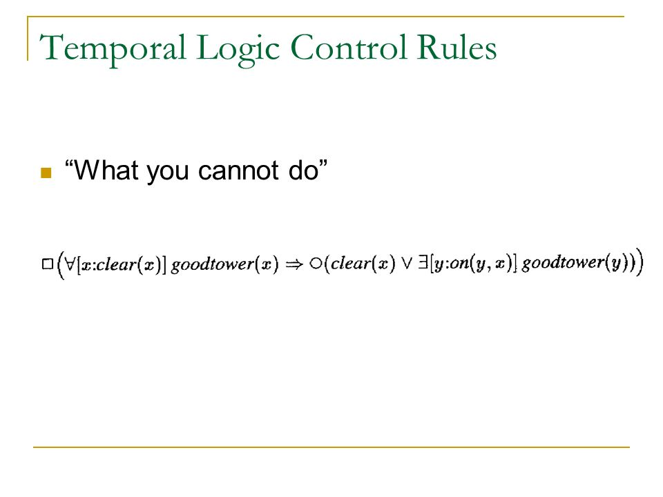 Temporal Logic Control Rules What you cannot do