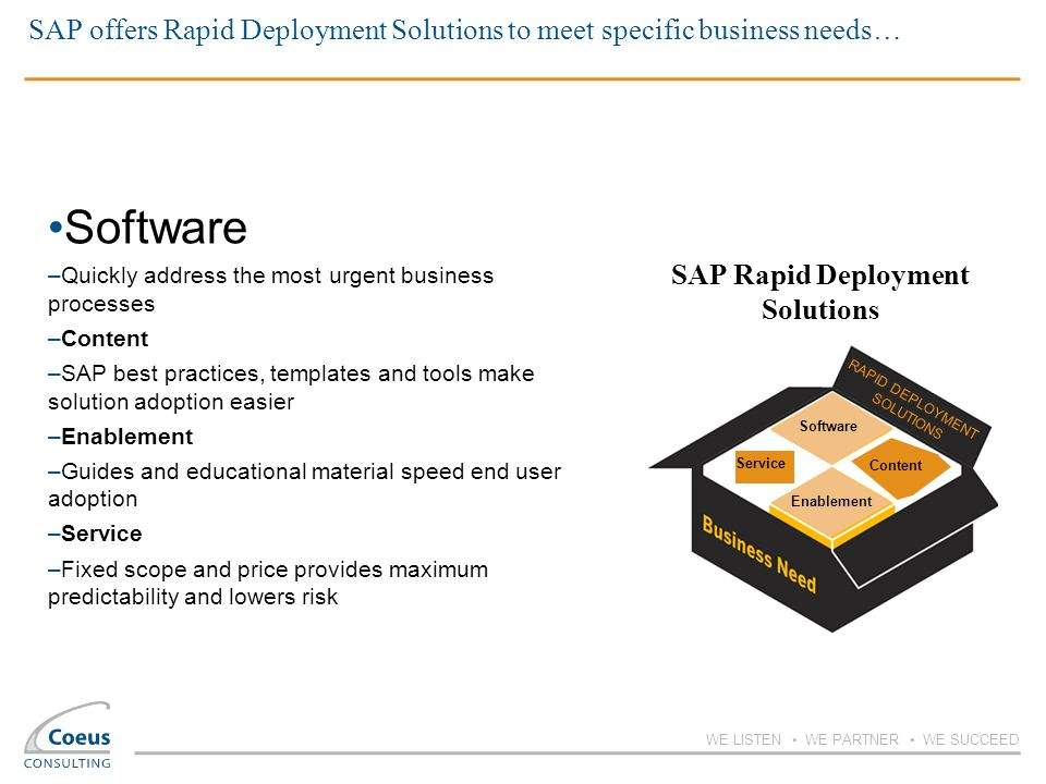 WE LISTEN WE PARTNER WE SUCCEED SAP offers Rapid Deployment Solutions to meet specific business needs… Software –Quickly address the most urgent busin