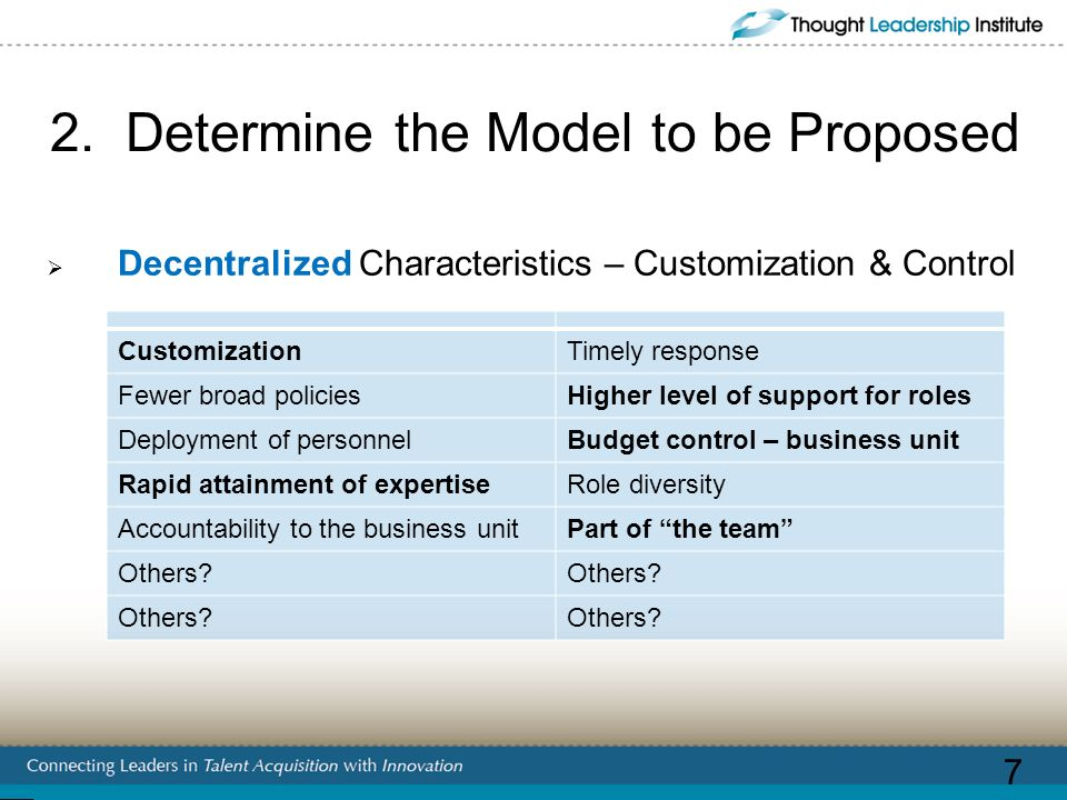 2. Determine the Model to be Proposed Decentralized Characteristics – Customization & Control CustomizationTimely response Fewer broad policiesHigher