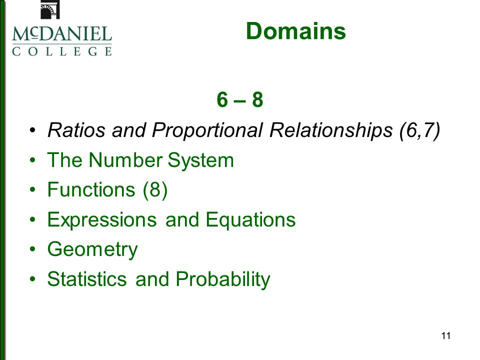 11 Domains 6 – 8 Ratios and Proportional Relationships (6,7) The Number System Functions (8) Expressions and Equations Geometry Statistics and Probabi