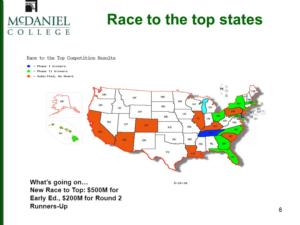 6 Race to the top states Whats going on… New Race to Top: $500M for Early Ed., $200M for Round 2 Runners-Up