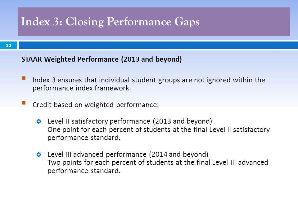 33 Index 3 ensures that individual student groups are not ignored within the performance index framework. Credit based on weighted performance: Level