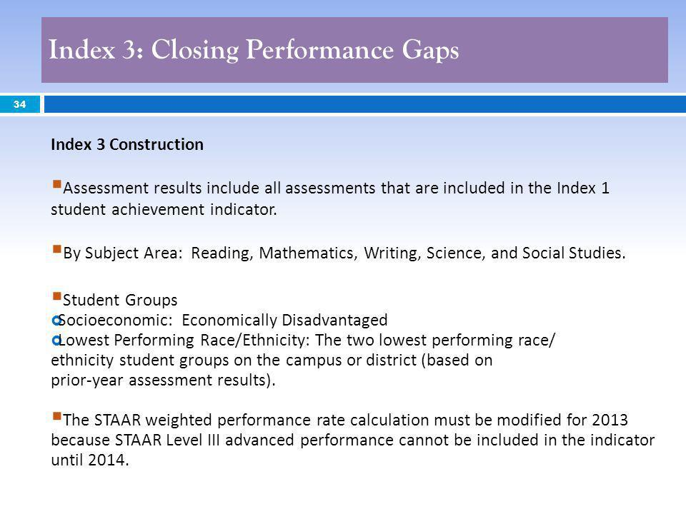 Index 3: Closing Performance Gaps 34 Index 3 Construction Assessment results include all assessments that are included in the Index 1 student achievem