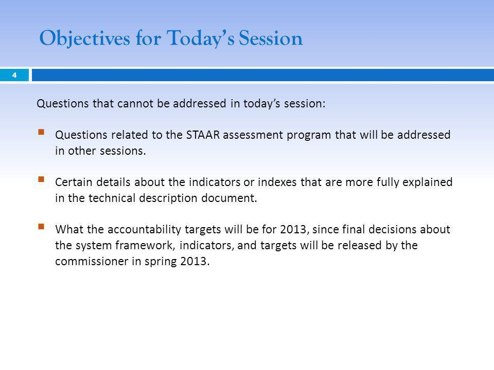 Objectives for Todays Session 4 Questions that cannot be addressed in todays session: Questions related to the STAAR assessment program that will be a