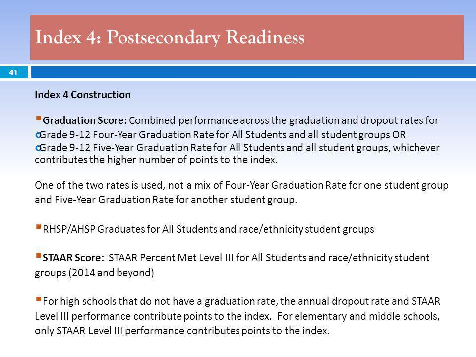 41 Index 4 Construction Graduation Score: Combined performance across the graduation and dropout rates for Grade 9-12 Four-Year Graduation Rate for All Students and all student groups OR Grade 9-12 Five-Year Graduation Rate for All Students and all student groups, whichever contributes the higher number of points to the index.