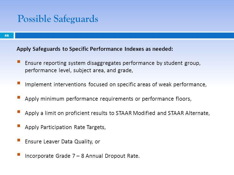Possible Safeguards 46 Apply Safeguards to Specific Performance Indexes as needed: Ensure reporting system disaggregates performance by student group, performance level, subject area, and grade, Implement interventions focused on specific areas of weak performance, Apply minimum performance requirements or performance floors, Apply a limit on proficient results to STAAR Modified and STAAR Alternate, Apply Participation Rate Targets, Ensure Leaver Data Quality, or Incorporate Grade 7 – 8 Annual Dropout Rate.