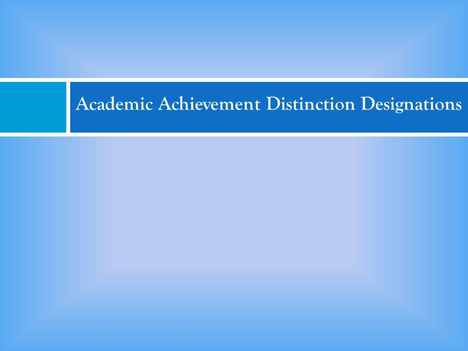Academic Achievement Distinction Designations