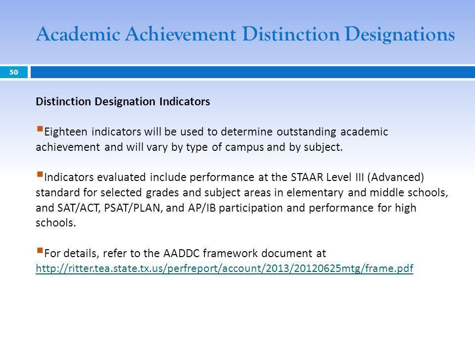 50 Distinction Designation Indicators Eighteen indicators will be used to determine outstanding academic achievement and will vary by type of campus a