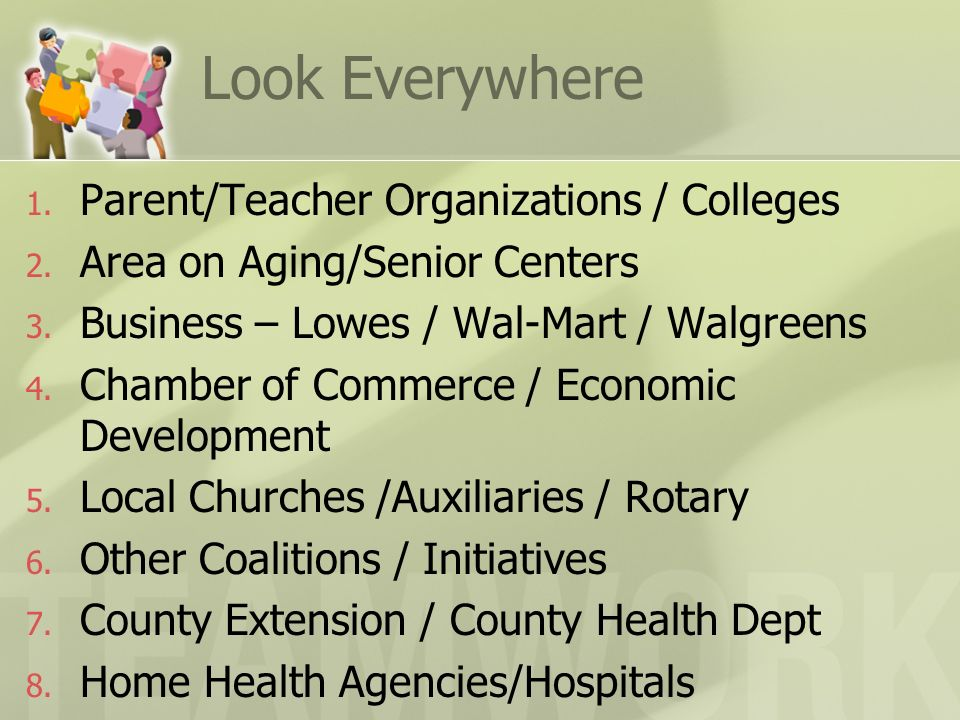 Look Everywhere 1. Parent/Teacher Organizations / Colleges 2. Area on Aging/Senior Centers 3. Business – Lowes / Wal-Mart / Walgreens 4. Chamber of Co