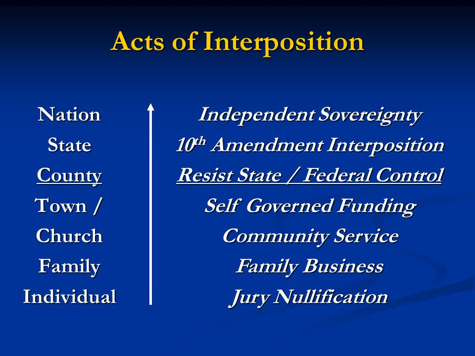Acts of Interposition NationStateCounty Town / ChurchFamilyIndividual Independent Sovereignty 10 th Amendment Interposition Resist State / Federal Con
