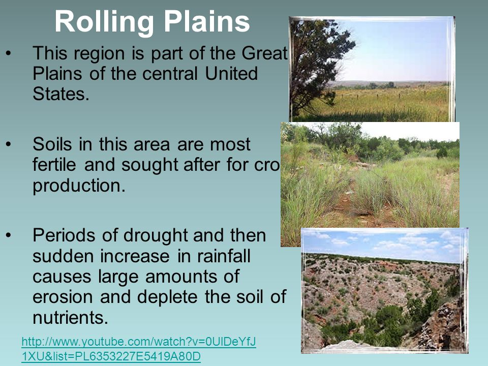 Rolling Plains This region is part of the Great Plains of the central United States. Soils in this area are most fertile and sought after for crop pro