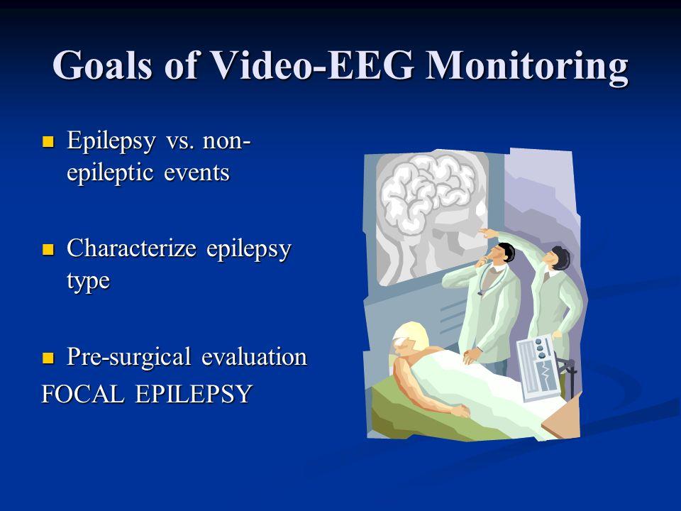 Goals of Video-EEG Monitoring Epilepsy vs. non- epileptic events Epilepsy vs. non- epileptic events Characterize epilepsy type Characterize epilepsy t