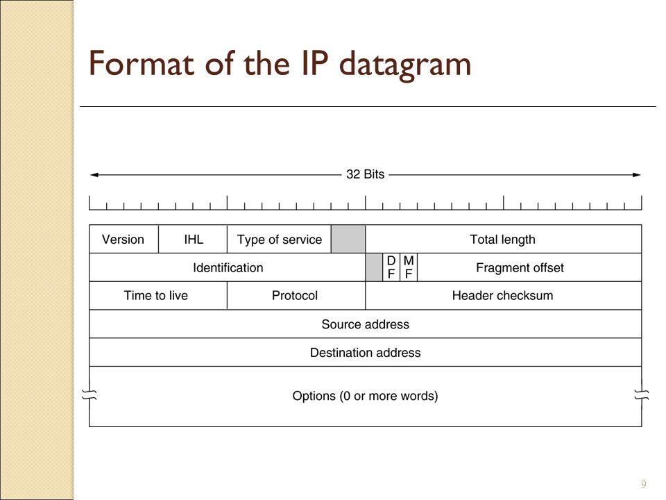 9 Format of the IP datagram