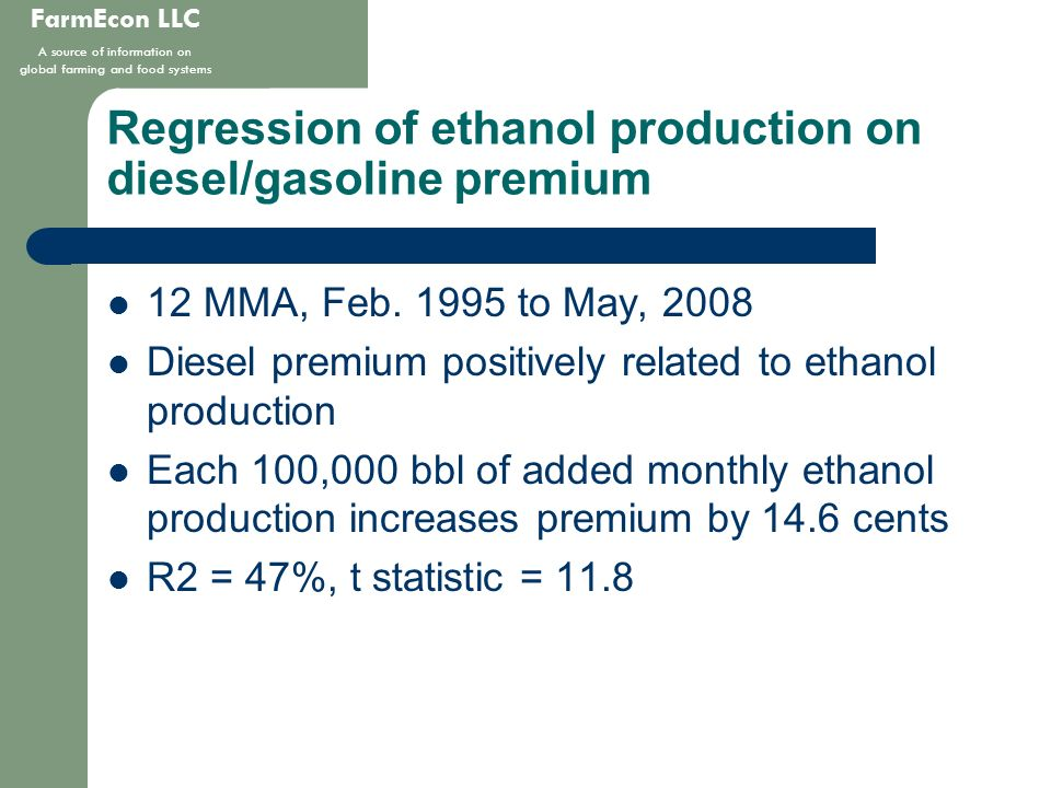 FarmEcon LLC A source of information on global farming and food systems Regression of ethanol production on diesel/gasoline premium 12 MMA, Feb. 1995