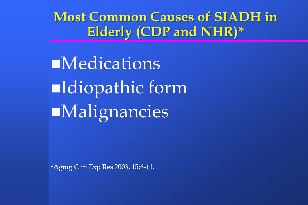 Most Common Causes of SIADH in Elderly (CDP and NHR)* Medications Idiopathic form Malignancies *Aging Clin Exp Res 2003, 15:6-11.