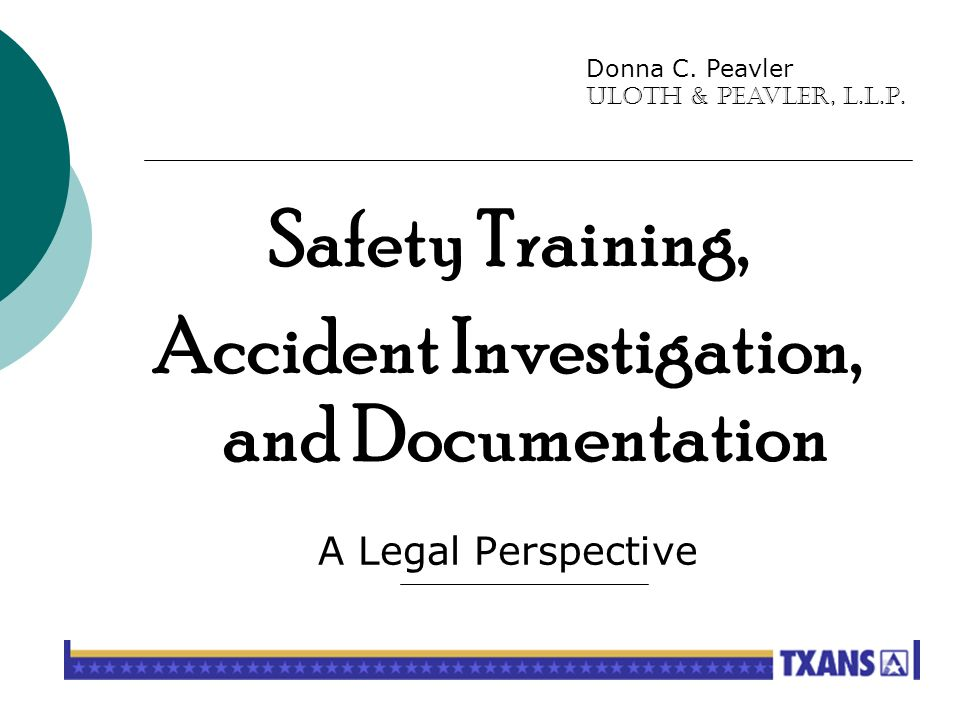 SAFETY From the Legal Perspective