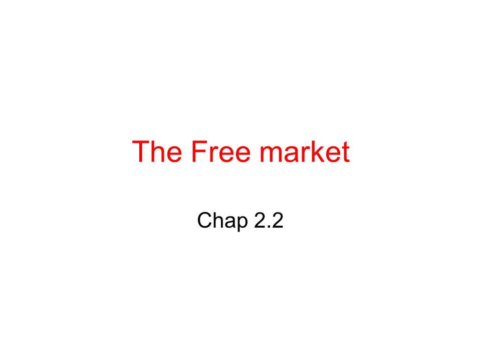 The Free market Chap 2.2