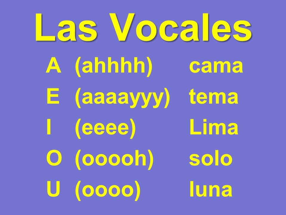 Las Vocales A (ahhhh) cama E (aaaayyy) tema I (eeee) Lima O (ooooh) solo U (oooo) luna