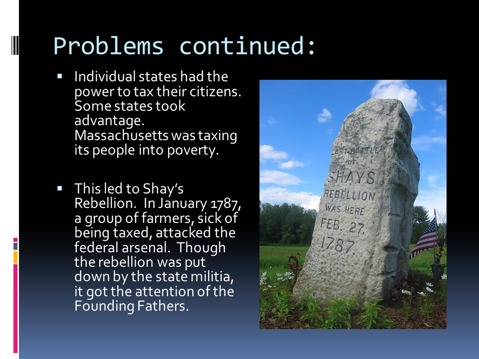 Problems continued: Individual states had the power to tax their citizens.