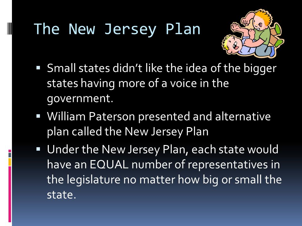 The New Jersey Plan Small states didnt like the idea of the bigger states having more of a voice in the government.