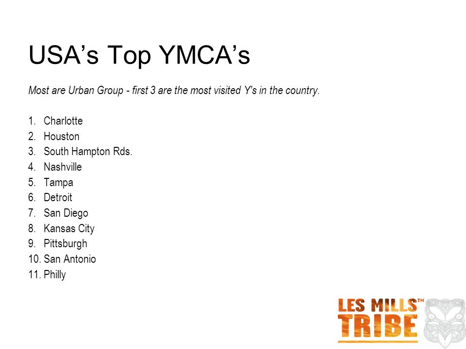 USAs Top YMCAs Most are Urban Group - first 3 are the most visited Y s in the country.