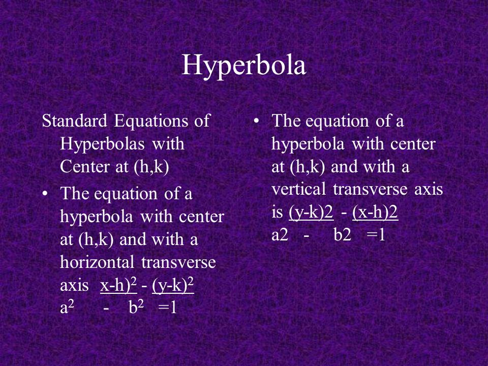 Hyperbola Standard Equations of Hyperbolas with Center at (h,k) The equation of a hyperbola with center at (h,k) and with a horizontal transverse axis