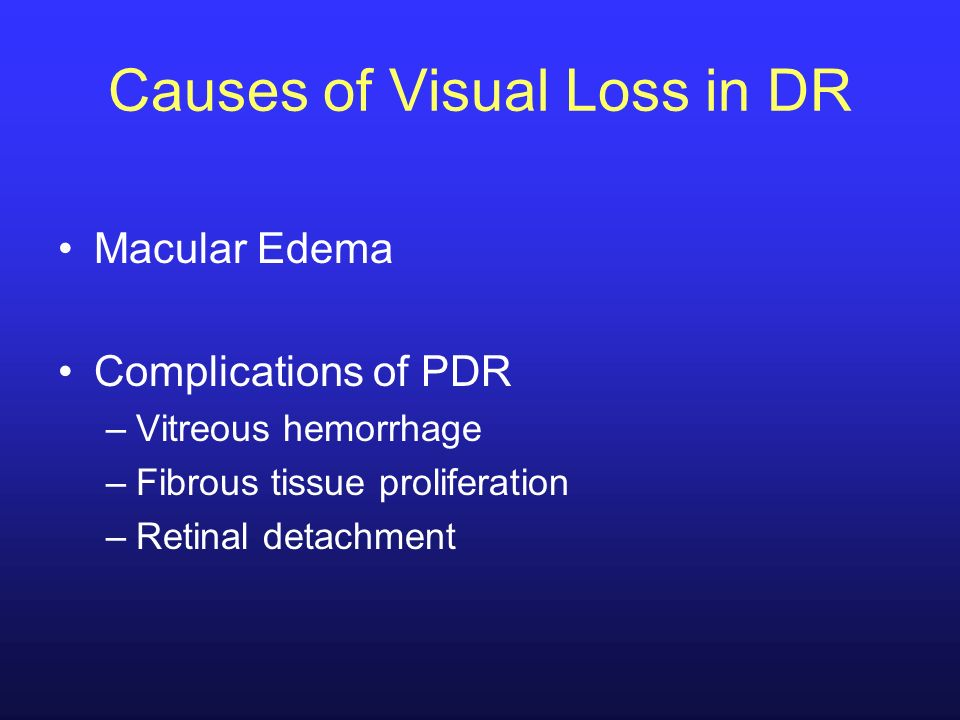 Causes of Visual Loss in DR Macular Edema Complications of PDR –Vitreous hemorrhage –Fibrous tissue proliferation –Retinal detachment