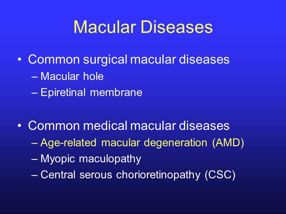 Macular Diseases Common surgical macular diseases –Macular hole –Epiretinal membrane Common medical macular diseases –Age-related macular degeneration