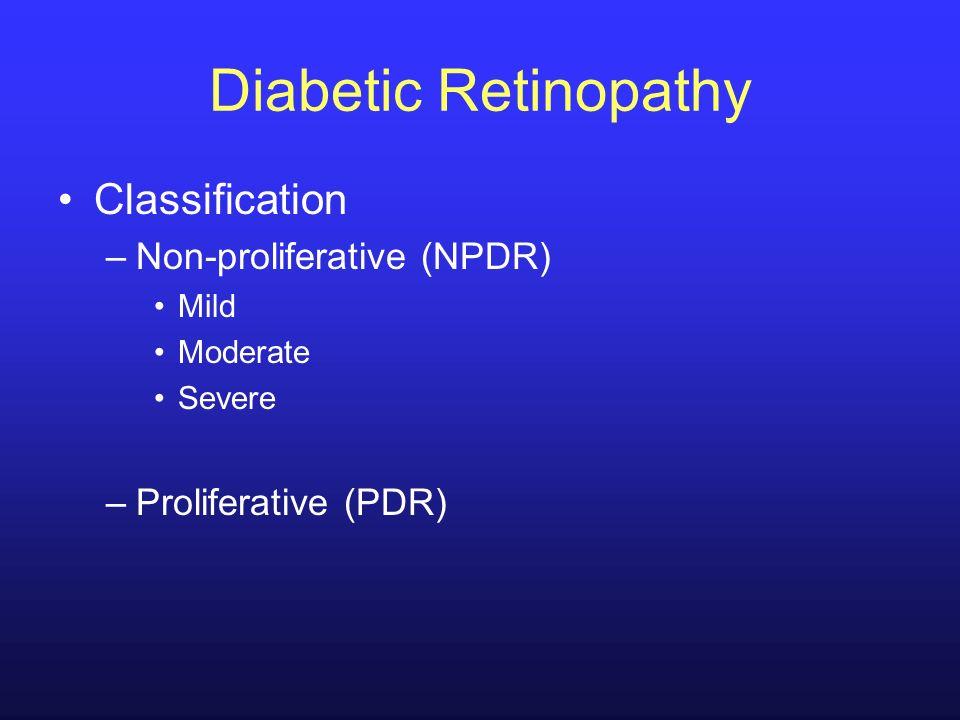 Diabetic Retinopathy Classification –Non-proliferative (NPDR) Mild Moderate Severe –Proliferative (PDR)
