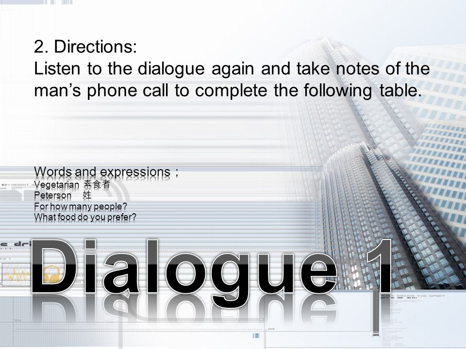 2. Directions: Listen to the dialogue again and take notes of the mans phone call to complete the following table.