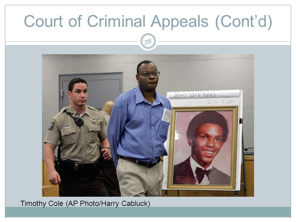 Court of Criminal Appeals (Contd) Timothy Cole (AP Photo/Harry Cabluck) 58