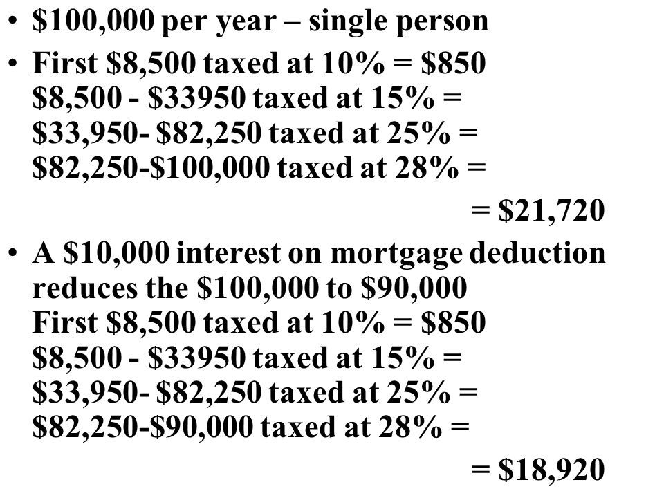 $100,000 per year – single person First $8,500 taxed at 10% = $850 $8,500 - $33950 taxed at 15% = $33,950- $82,250 taxed at 25% = $82,250-$100,000 taxed at 28% = = $21,720 A $10,000 interest on mortgage deduction reduces the $100,000 to $90,000 First $8,500 taxed at 10% = $850 $8,500 - $33950 taxed at 15% = $33,950- $82,250 taxed at 25% = $82,250-$90,000 taxed at 28% = = $18,920