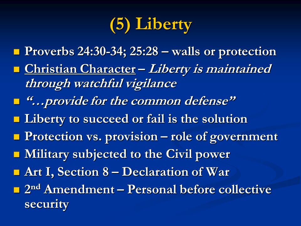 (5) Liberty Proverbs 24:30-34; 25:28 – walls or protection Proverbs 24:30-34; 25:28 – walls or protection Christian Character – Liberty is maintained