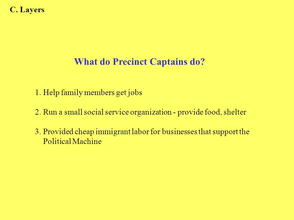 1. Help family members get jobs 2. Run a small social service organization - provide food, shelter 3. Provided cheap immigrant labor for businesses th