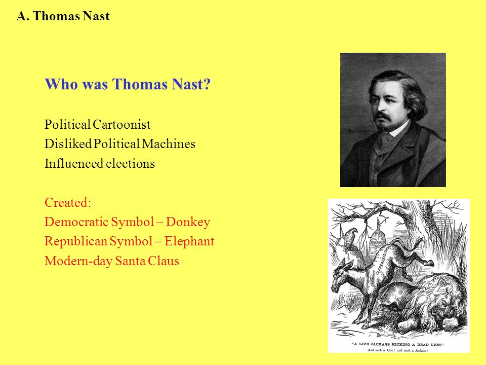 A. Thomas Nast Who was Thomas Nast? Political Cartoonist Disliked Political Machines Influenced elections Created: Democratic Symbol – Donkey Republic