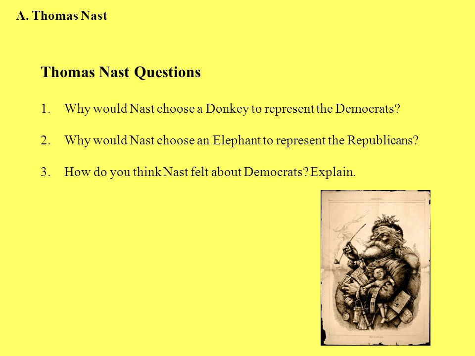 Thomas Nast Questions 1.Why would Nast choose a Donkey to represent the Democrats? 2.Why would Nast choose an Elephant to represent the Republicans? 3