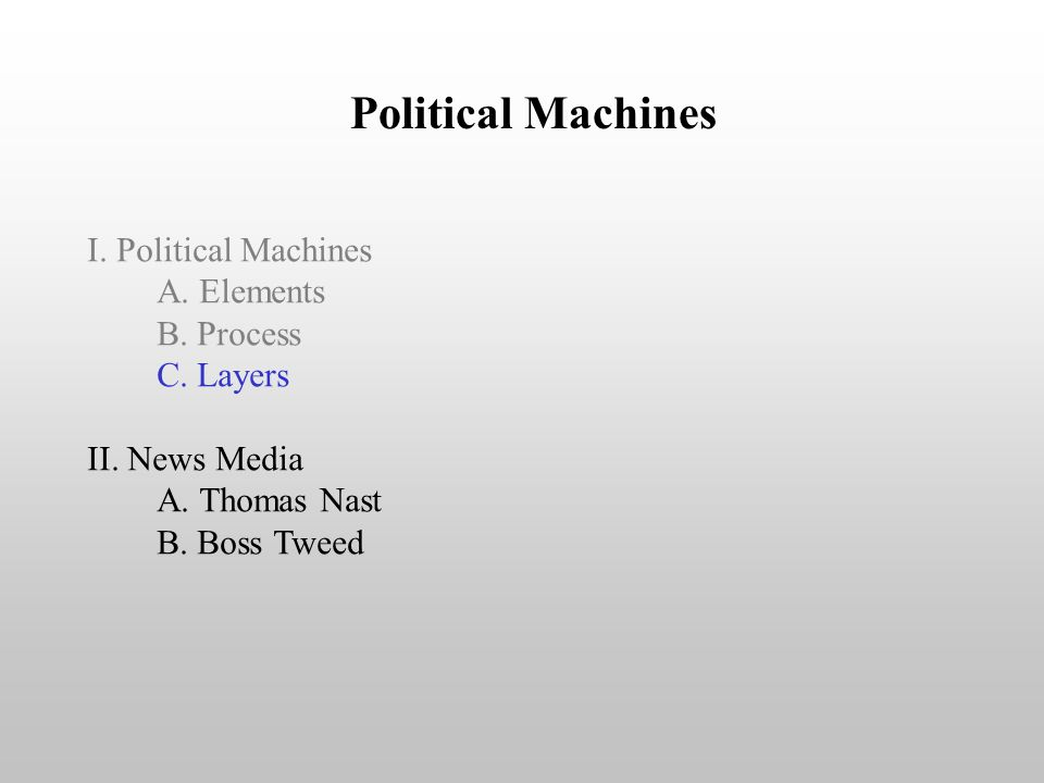 Political Machines I. Political Machines A. Elements B. Process C. Layers II. News Media A. Thomas Nast B. Boss Tweed