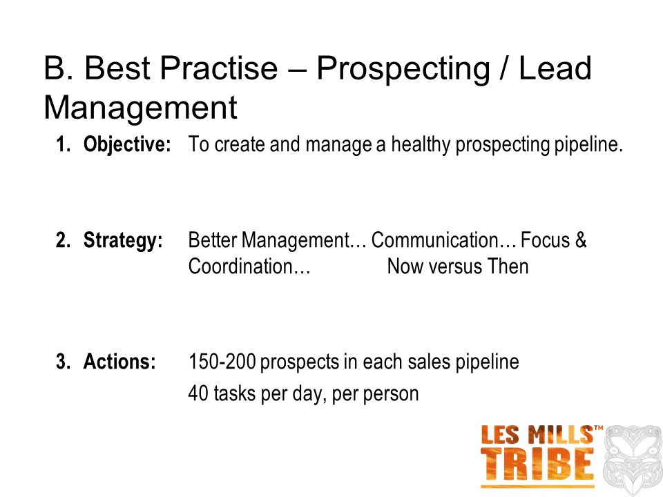B. Best Practise – Prospecting / Lead Management 1.Objective: To create and manage a healthy prospecting pipeline. 2.Strategy: Better Management… Comm