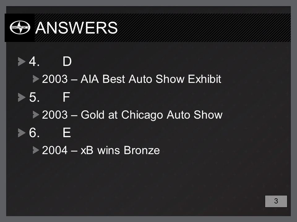 ANSWERS 4.D 2003 – AIA Best Auto Show Exhibit 5.F 2003 – Gold at Chicago Auto Show 6.E 2004 – xB wins Bronze 3